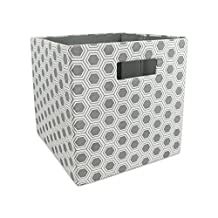 """DII Foldable Fabric Storage Container for Nurseries, Offices, Closets, Home Decor, Cube Organizer & Everyday Use, 11 x 11 x 11"""", Gray Honeycomb"""
