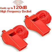 Hipat Red Emergency Whistles with Lanyard, Loud Crisp Sound, 2 Packs Plastic Whistles Ideal for Lifeguard, Sel