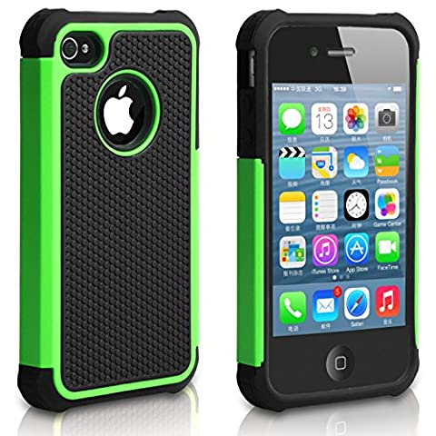 Pasonomie Heavy Duty Hybrid Shockproof Resistant Armor Case for Apple iPhone 4S/4 (Green) (Iphone4 Tough Cases)