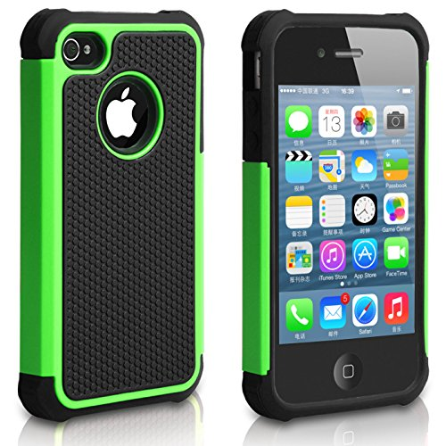 Pasonomie Heavy Duty Hybrid Shockproof Resistant Armor Case for Apple iPhone 4S/4 (Iphone 4 Cases Green)