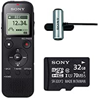 Sony ICD-PX470 Stereo Digital Voice Recorder with Built-In USB Voice Recorder w/ Sony ECMCS3 Clip style Mic