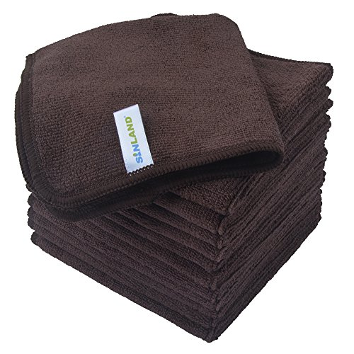 - Sinland Absorbent Microfiber Dish Cloth Kitchen Streak Free Cleaning Cloth Dish Rags Lens Cloths 12 Inch X 12 Inch 12 Pack Dark Brown