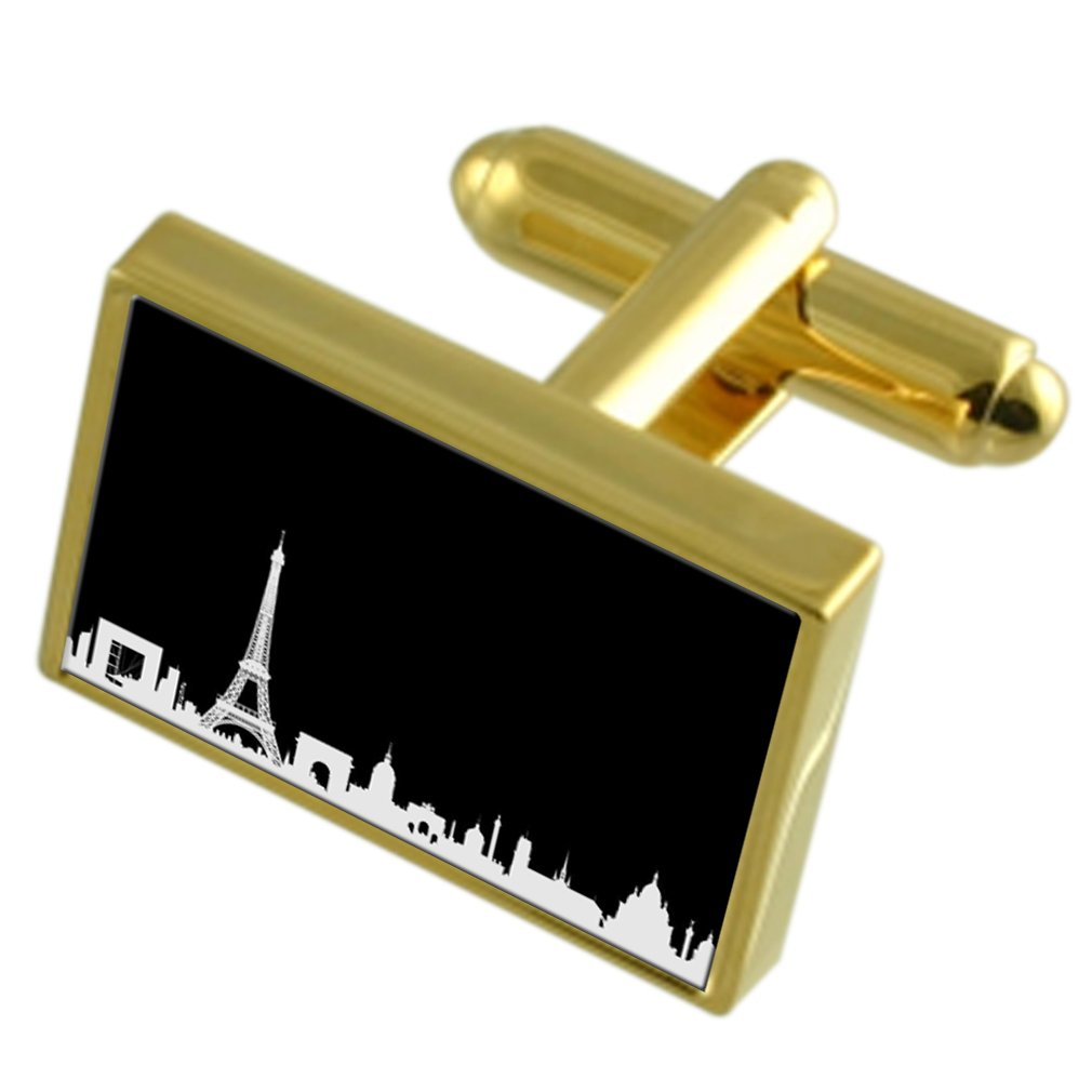 Select Gifts Paris Skyline Gold-Tone Cufflinks Engraved Message Box