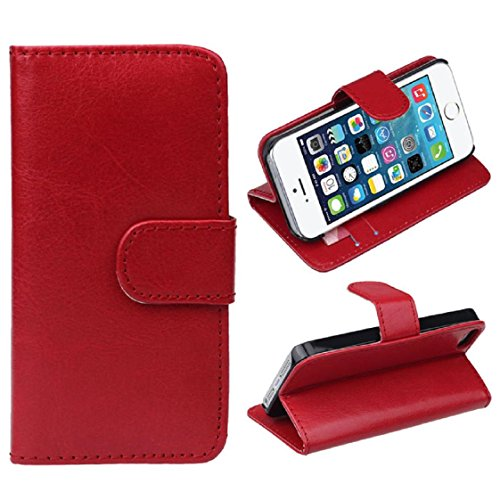 For Apple iPhone 5 5G 5S, Mchoice 1PC Retro Leather Wallet Flip Cover Case for Apple iPhone 5 5G 5S (Red)
