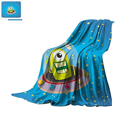 Kids Warm Microfiber All Season Blanket Cute Comic UFO Alien in Outer Space with Stars Galaxy Journey Caricature Cartoon Print Summer Quilt Comforter 90