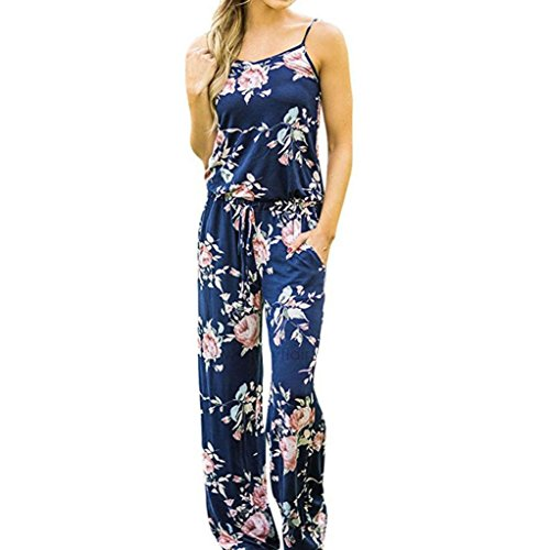 Ladies Long Floral Jumpsuit SanCanSn Womens Sleeveless Drawstring Playsuit