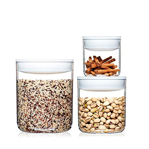 ClickClack Pantry Canisters Capacity, 0.6, 1.6, 3.3-Quart, White, Set of 3 ()