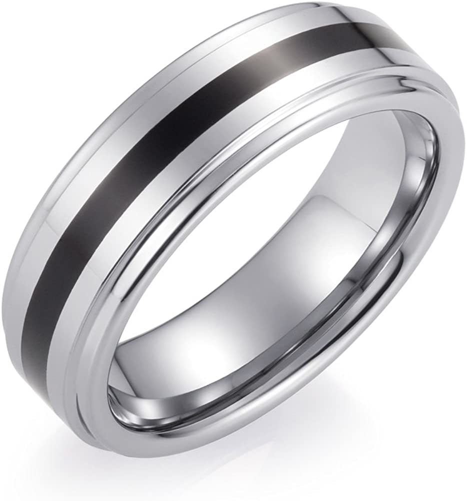 Left & 4Th 7mm Tungsten Carbide Wedding Band Men Women Black Red Line Ring Comfort Fit