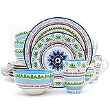 Euro Ceramica Marrakesh Collection 16 Piece Ceramic Dinnerware Set, Service for 4, Multicolor For Sale