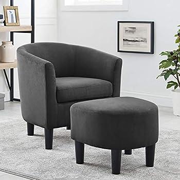Amazon.com: Leila Petite - Juego de silla y otomana de tela ...