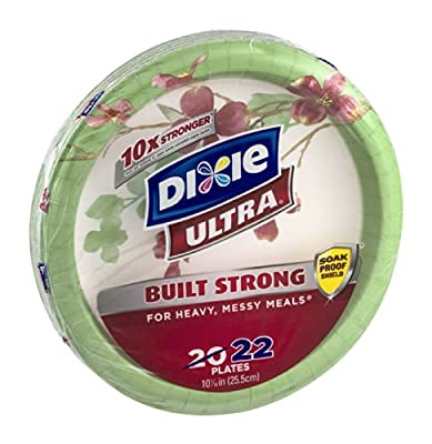 Dixie Ultra Disposable Paper Plates, 10 1/16 Inch, 22 CT