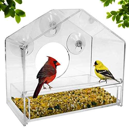 ird Feeder - Refillable Sliding Tray - Weather Proof - Snow and Squirrel Resistant - Drains Rain Water - See Songbirds from Home! ()