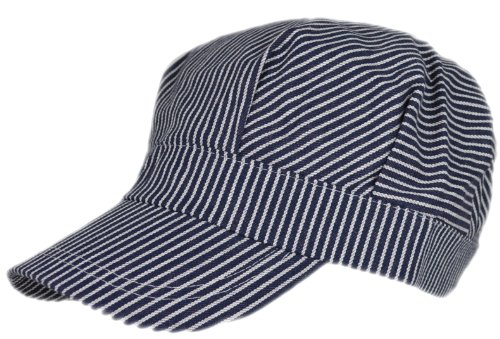 Adult Train Engineer Cap, One size fits most adults, Small through Large, Authentic blue and white stripes
