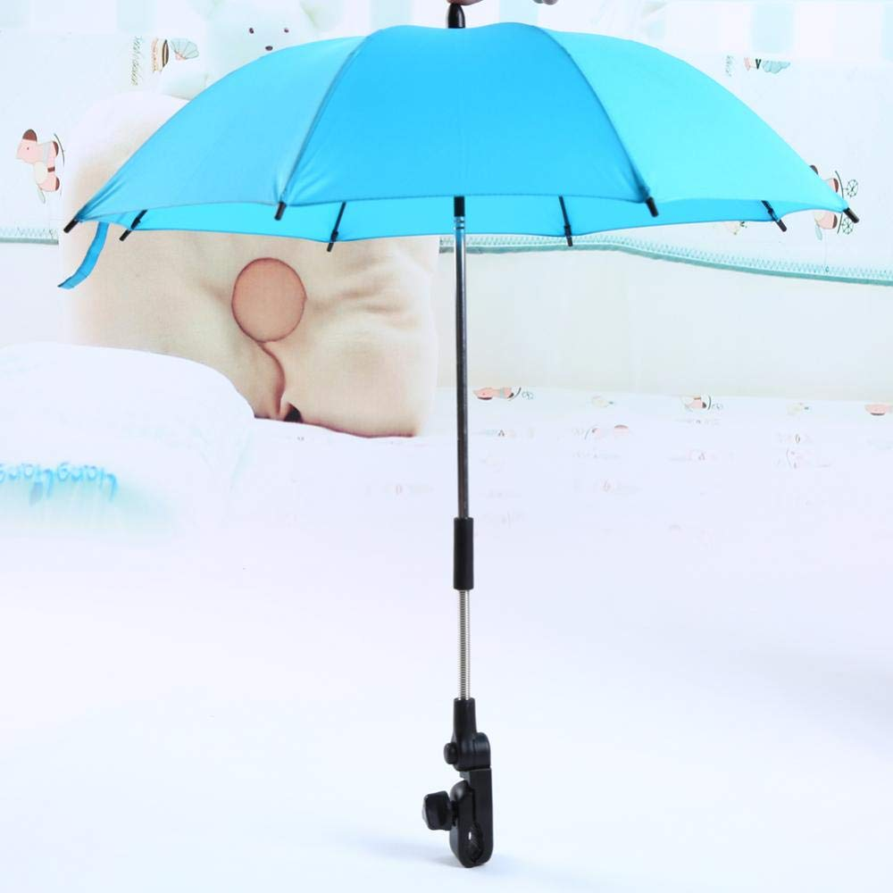 Baby Stroller Wheelchair Umbrella and Holder, Parasol UV Rays Rain Sun Canopy(Bule) Wal front