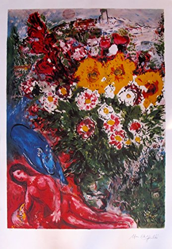 Art by Marc Chagall Les Soucis Limited Edition Signed Lithograph Print. After the Original Painting or Drawing. Measures 30¼