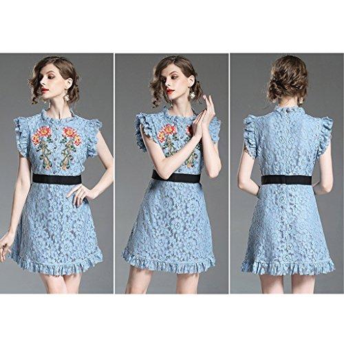 Vestiti estivi donna maniche Blu Colore Sexy M abito dimensioni Nero pizzo senza Slim corto pesante WANG da Abiti ricamo sottile 1Ex1qd