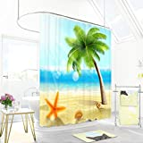 TIANTA- Waterproof Fabric Shower Curtain for Bathroom,Antibacterial Design Polyester Metal Grommets Top,Blue Starfish Coconut Tree Sea Personality Creative Design ( Color : Blue , Size : 120200cm )
