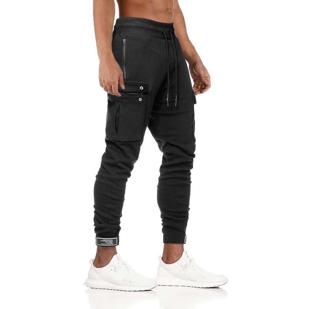 MECH-ENG Mens Gym Training Sports Jogger Pants Slim Fit Training Sweatpants with Zipper Pocket