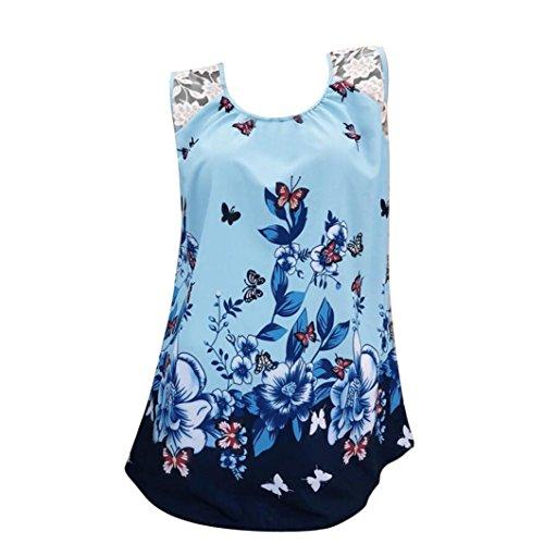Silk Vest Print (TOPUNDER Women Sleeveless Tank Tops Butterfly and Flora T-Shirt Print Vest Blouse Casual)