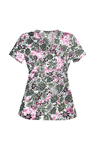 G Med Women's Printed Mock Wrap V Neck B - Black Tan Tie Back Top Shopping Results