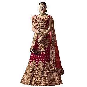 GLAMFLOX Women's Banglori Silk Satin Semi-Stitched Lehenga Choli