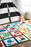 nuLOOM Nursery Alphabet Block Cartoons Kids Area Rugs, 3' 3'' x 5', Multicolor