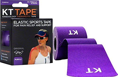 KT Tape Original Cotton Elastic Kinesiology Therapeutic Sports Tape, 20 Pre cut 10 inch Strips, Purple (Shop Pro Wipe 80)