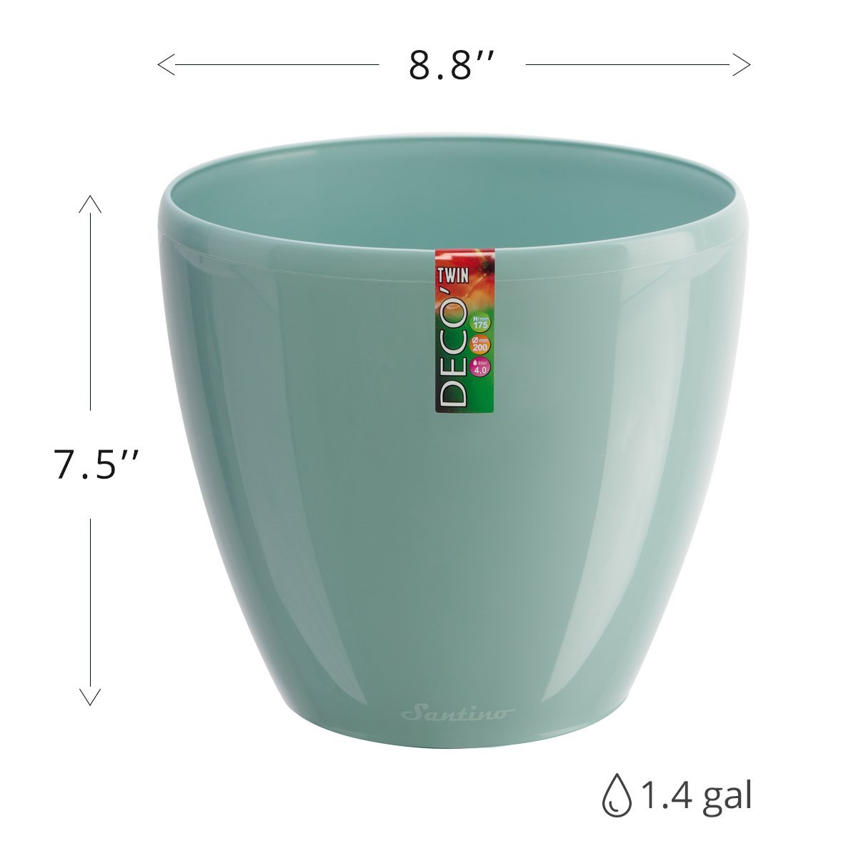 Santino Self Watering Planter DECO 8.8 Inch Jade Flower Pot by Santino (Image #4)