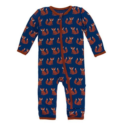 Kickee Pants Little Boys Print Coverall with Zipper - Navy Fox, 9-12 Months