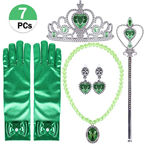 VAMEI Princess Dress Up 7 Pcs Crown Tiara Necklace Wand Gloves Princess Birthday Party Princess Tiana Accessories for Kids Girls -