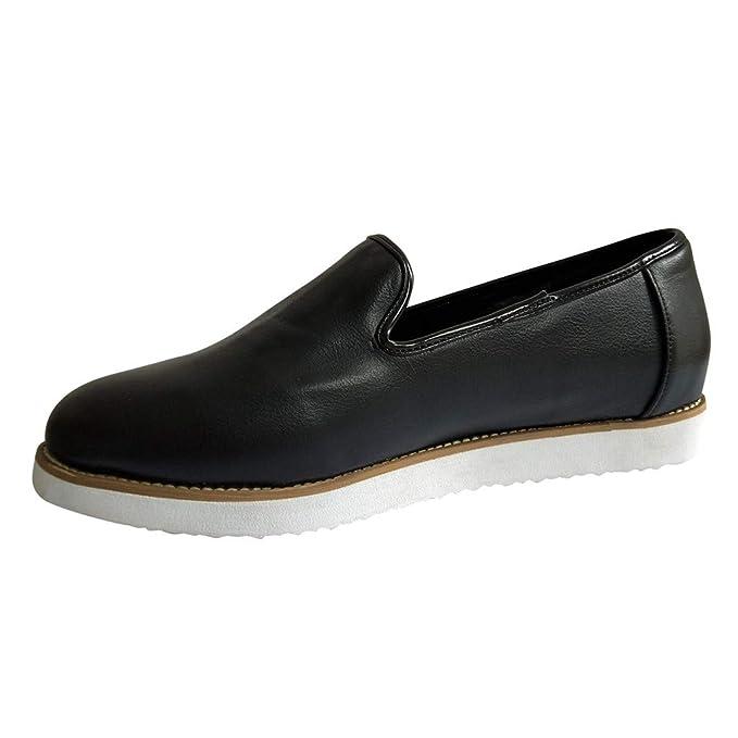 BaZhaHei Mujer Zapatillas Mocasines Redondos de Plataforma de los Zapatos de Barco Damas Retro Retro de Cuero Frente a un Pedal Zapatos Perezosos Poco ...