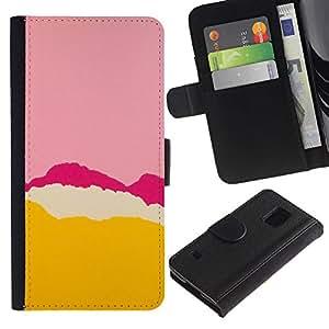 For Samsung Galaxy S5 V SM-G900,S-type® Pink Purple Tear Yellow Abstract Colors - Dibujo PU billetera de cuero Funda Case Caso de la piel de la bolsa protectora