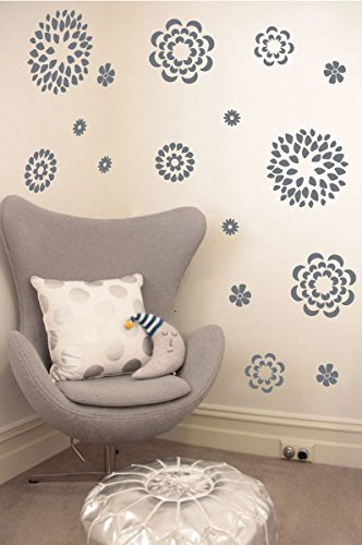 01 Wall Sticker - The Decal Guru Flower Pattern Wall Decal with Removable DIY Vinyl Sticker Girls Room Art Home Decor Graphic Transfer, 19