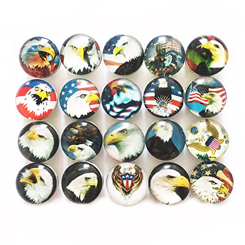 Lovglisten American Eagle Style 20pcs Mix Random18MM Print Glass Style Snap Buttons Jewelry Charms