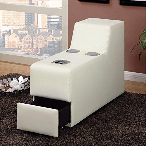 Furniture of America Contreras Leatherette Console in White by Furniture of America