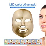 3D Phototherapy Color LED Mask Instrument Cold Light LED electronic Mask Instrument Professional Beauty Rejuvenation Instrument Therapy Facial Skin Care Mask Device (7 color, Gold)