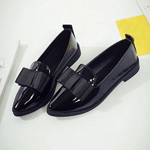 Tiean Dames Puntschoen Oxford Schoenen Casual Comfortabele Slip Platte Schoenen Zwart