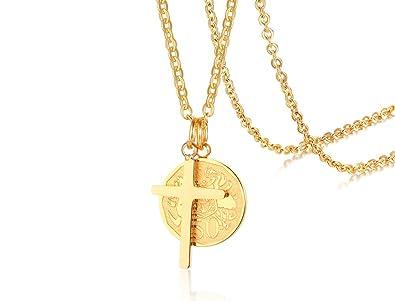 MEALGUET Medallón Chapado en Oro de 18 Quilates con Delicada ...
