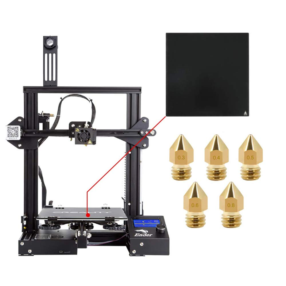 Creality Ender 3 3D Printer with Tempered Glass Plate and Five Nozzles Build Volume 220x220x250mm