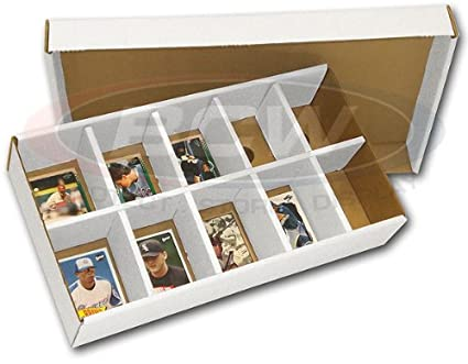 One 1 Bcw Sorting Tray 10 Slots Corrugated Cardboard Storage Box Baseball Other Sports Gaming Trading Cards Collecting Supplies