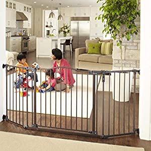 North States 72″ Wide Deluxe Décor Baby Gate: Provides safety in extra-wide spaces with added one-hand functionality. Hardware mount. Fits 38.3″-72″ wide (30″ tall, Bronze)