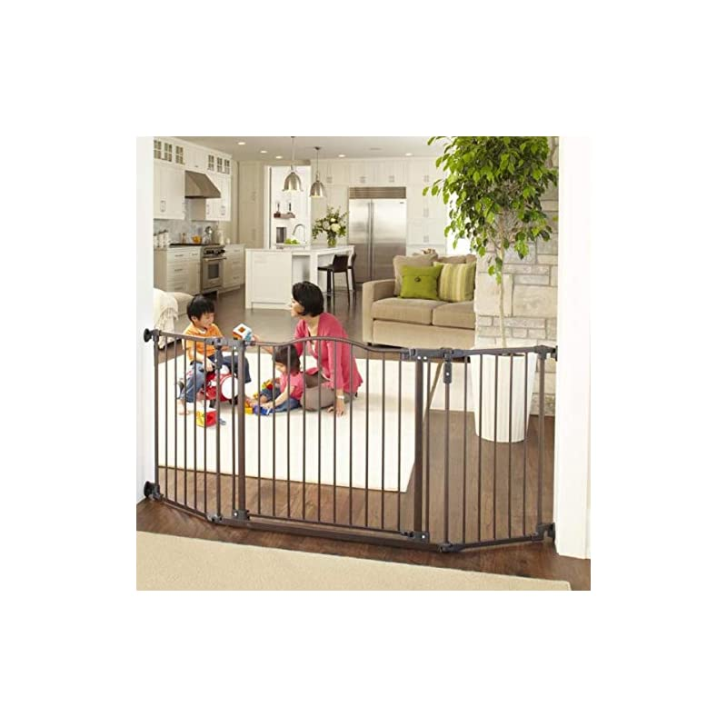 """dog supplies online north states 72"""" wide deluxe décor baby gate: provides safety in extra-wide spaces with added one-hand functionality. hardware mount. fits 38.3""""-72"""" wide (30"""" tall, bronze)"""