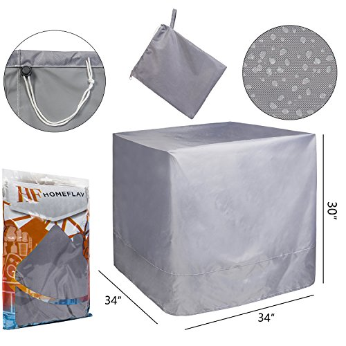 (Air Conditioner Cover for Home HVAC System [Grey] - 34 Inches (Length) x 34 inches (Width) x 30 inches (Height))
