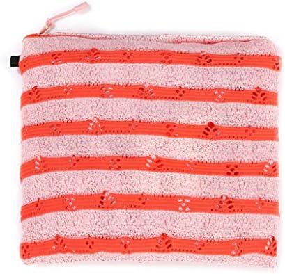 Bufanda cálida de moda, para mujer, diseño de rayas de crochet, con bolsillo con cremallera naranja: Amazon.es: Hogar
