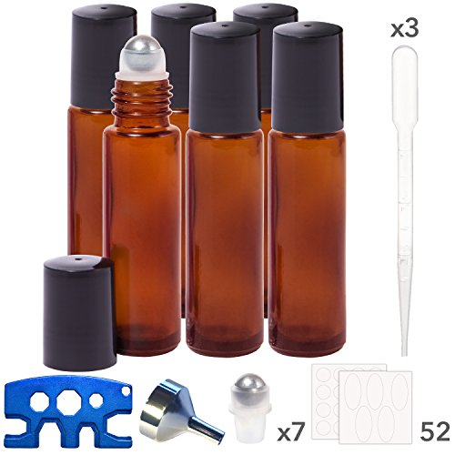 Amber Essential Oil Roller Bottles