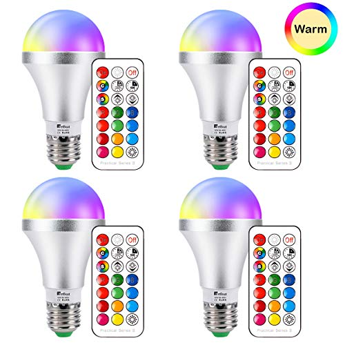 LED Light Bulbs E26 Dimmable Color Changing Light Bulb, 10W RGB+Warm White Multicolor Lights Bulb with Remote Control, Dual Memory, Stage Lights Mood Lighting for Home Decor, Stage, Party 4-Pack