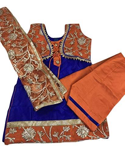 Girls/Kids Punjabi Salwar Suit Indian Wedding/Party Wear/Sangeet Dress (Blue with Orange, Indian Size 28 Fits (5 Yr Old)) (Blue Salwar Suit)