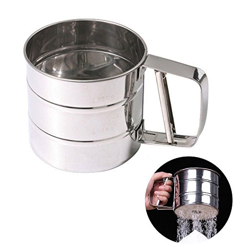MENGCORE Baking Stainless Steel Shaker Sieve Cup Mesh Crank Flour Sifter with Measuring Scale Mark for Flour Icing - Cup Sifter Flour 1
