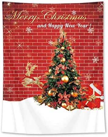 HVEST Merry Christmas and Happy New Year Wall Tapestry Christmas Tree with Red Brick Wall Tapestry Xmas Wall Blanket Art for Bedroom Living Room Dorm Decor, 70.9Wx92.5H Inches