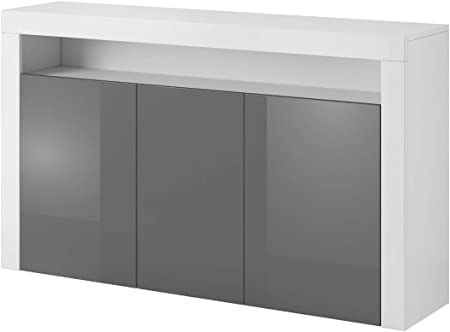 E Com Luna Sideboard 155 Cm White Grey Amazon Co Uk Kitchen Home